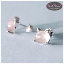 PINK OPAL CAT EARRINGS