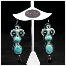 TURQUOISE IN SOUTACHE EARRINGS